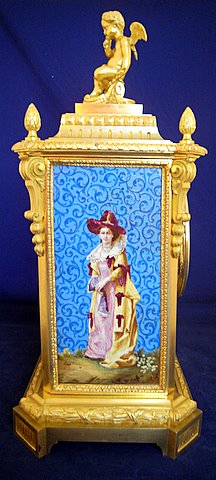 19th century French gilt ormolu mantel clock painted porcelain panels - side panel woman