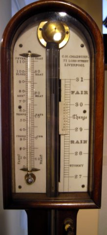 19th century mahogany stick barometer Chadburn Liverpool - head