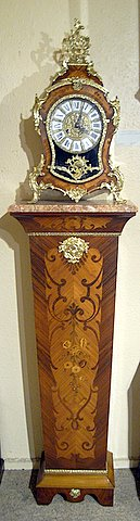 20th century French style marquetry mantel clock - pedestal