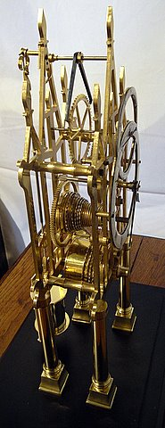 Brass fusee skeleton clock - angle