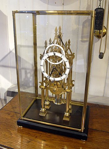 Brass fusee skeleton clock - case