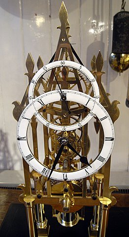 Brass fusee skeleton clock