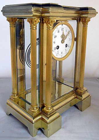 Four glass Japy Freres mantel clock Brocot escapement - angle