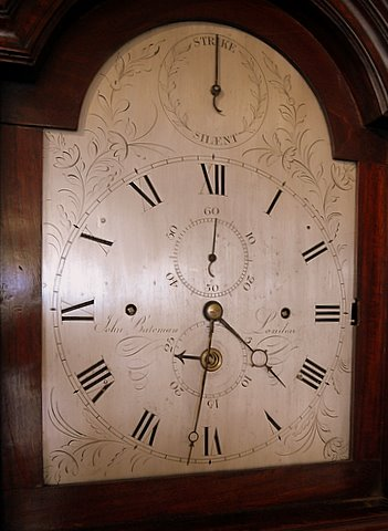 Late 18th century London flame mahogany musical longcase - dial