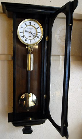 Late 19th century Victorian ebonised Vienna wall clock - open