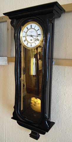 Late 19th century Victorian ebonised Vienna wall clock