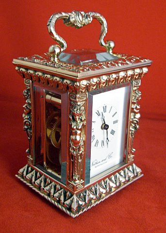Miniature carriage clock with caryatid columns - angle
