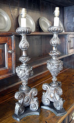 Pair Italian carved wood candle sticks