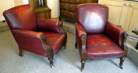 Click here to see more detail of pair of Victorian club armchairs