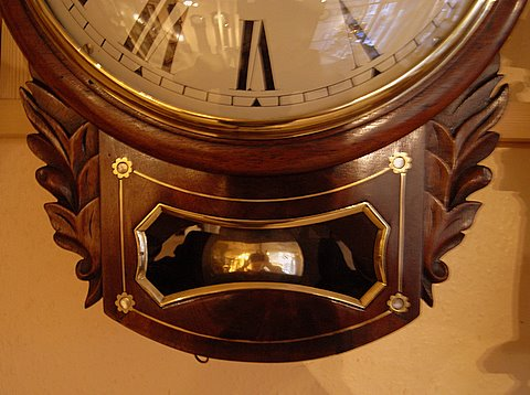 Regency mahogany inlaid drop dial clock Edwin Gaydon Brentford - drop