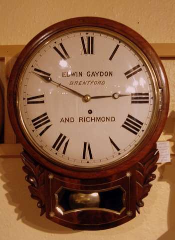 Regency mahogany inlaid drop dial clock Edward Gaydon Brentford