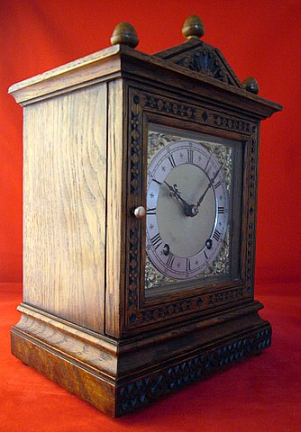 Victorian carved oak mantel clock Camera Cuss - angle