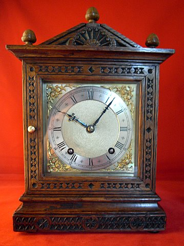 Victorian carved oak mantel clock Camera Cuss