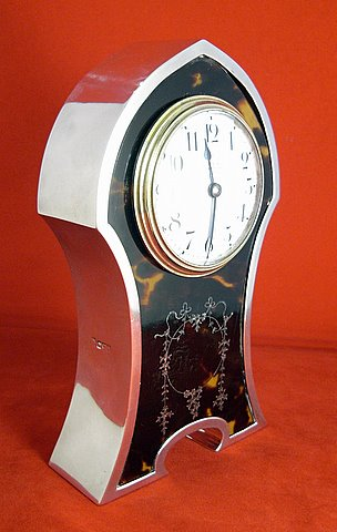 Victorian silver mounted tortoiseshell carriage clock - angle