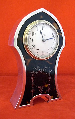 Victorian silver mounted tortoiseshell carriage clock