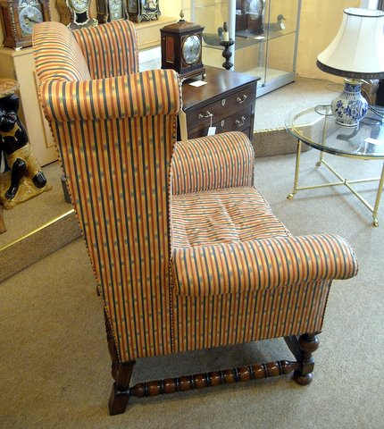 William and Mary wing back chair - side