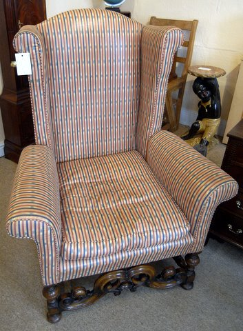 William and Mary wing back chair